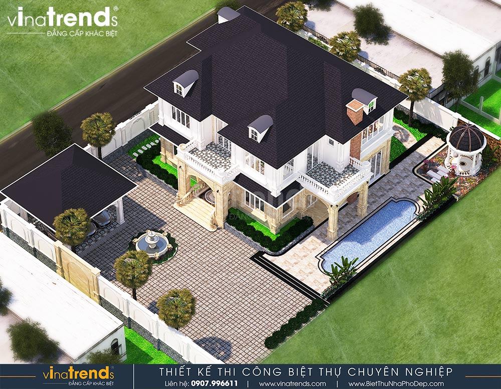 mau nha biet thu 2 tang kieu phap co san vuon rong dep Mẫu nhà biệt thự 2 tầng kiểu Pháp có sân vườn rộng 2190m2 của hãng xe Thành Công