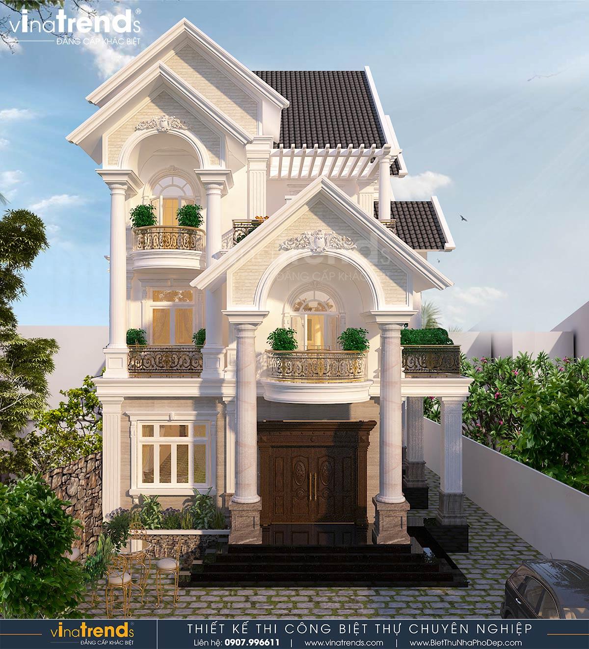 mau nha biet thu 3 tang co dien dep nhat Mẫu nhà biệt thự 3 tầng tân cổ điển 7x17m mê ngay sân vườn trước của anh Thiện ở Tiền Giang