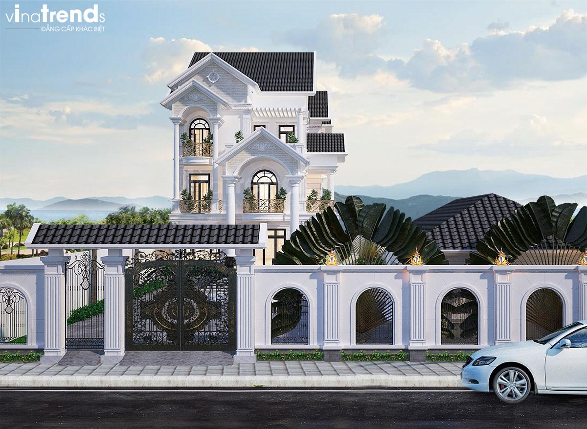 mau nha biet thu 3 tang mai thai co san vuon dep 1 Chiêm ngưỡng mẫu biệt thự 3 tầng đẹp mặt tiền 7x15m phong cách cổ điển anh Dương Vĩnh Phúc