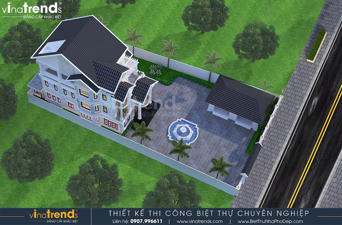 mau nha biet thu 3 tang mai thai tan co dien dep nhat 1 Mẫu nhà biệt thự 3 tầng mái thái  12x24m có sân vườn rộng của đại gia ngành xây dựng ở Bình Dương