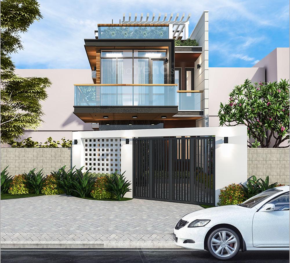mau nha dep 2 tang don gian Nhà đẹp 2 tầng hiện đại mặt tiền 7x12m như biệt thự của anh Thanh ở Biên Hòa