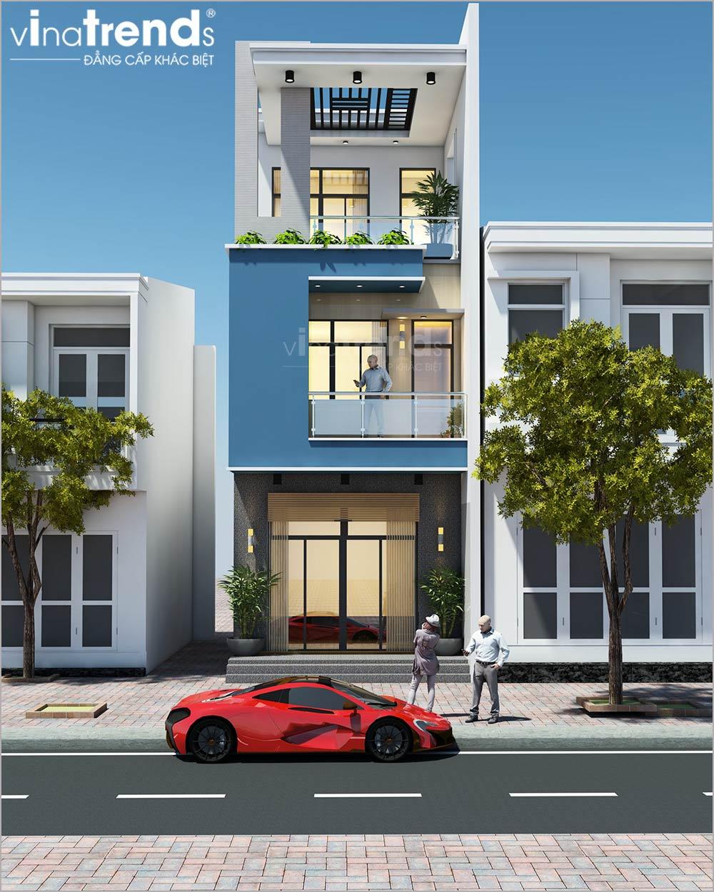 mau nha mat tien 5m 3 tang hien dai dep nhat 1 1 Mẫu nhà 3 tầng mặt tiền 5m 3 tầng dài 16,7m đơn giản màu trắng xanh nổi bậc ở Nhơn Trạch   Đồng Nai