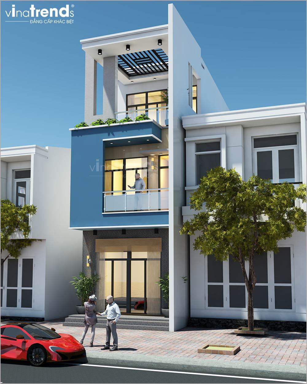 mau nha mat tien 5m 3 tang hien dai dep nhat 2 1 Mẫu nhà 3 tầng mặt tiền 5m 3 tầng dài 16,7m đơn giản màu trắng xanh nổi bậc ở Nhơn Trạch   Đồng Nai