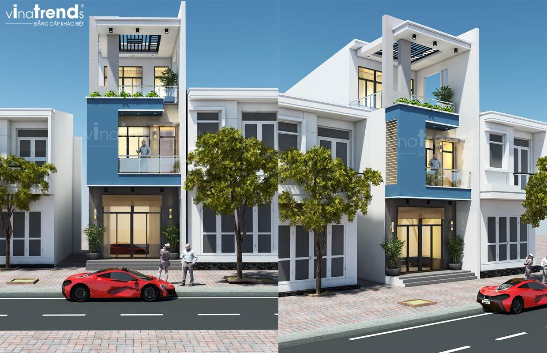 mau nha mat tien 5m 3 tang hien dai dep nhat 4 1 Mẫu nhà 3 tầng mặt tiền 5m 3 tầng dài 16,7m đơn giản màu trắng xanh nổi bậc ở Nhơn Trạch   Đồng Nai