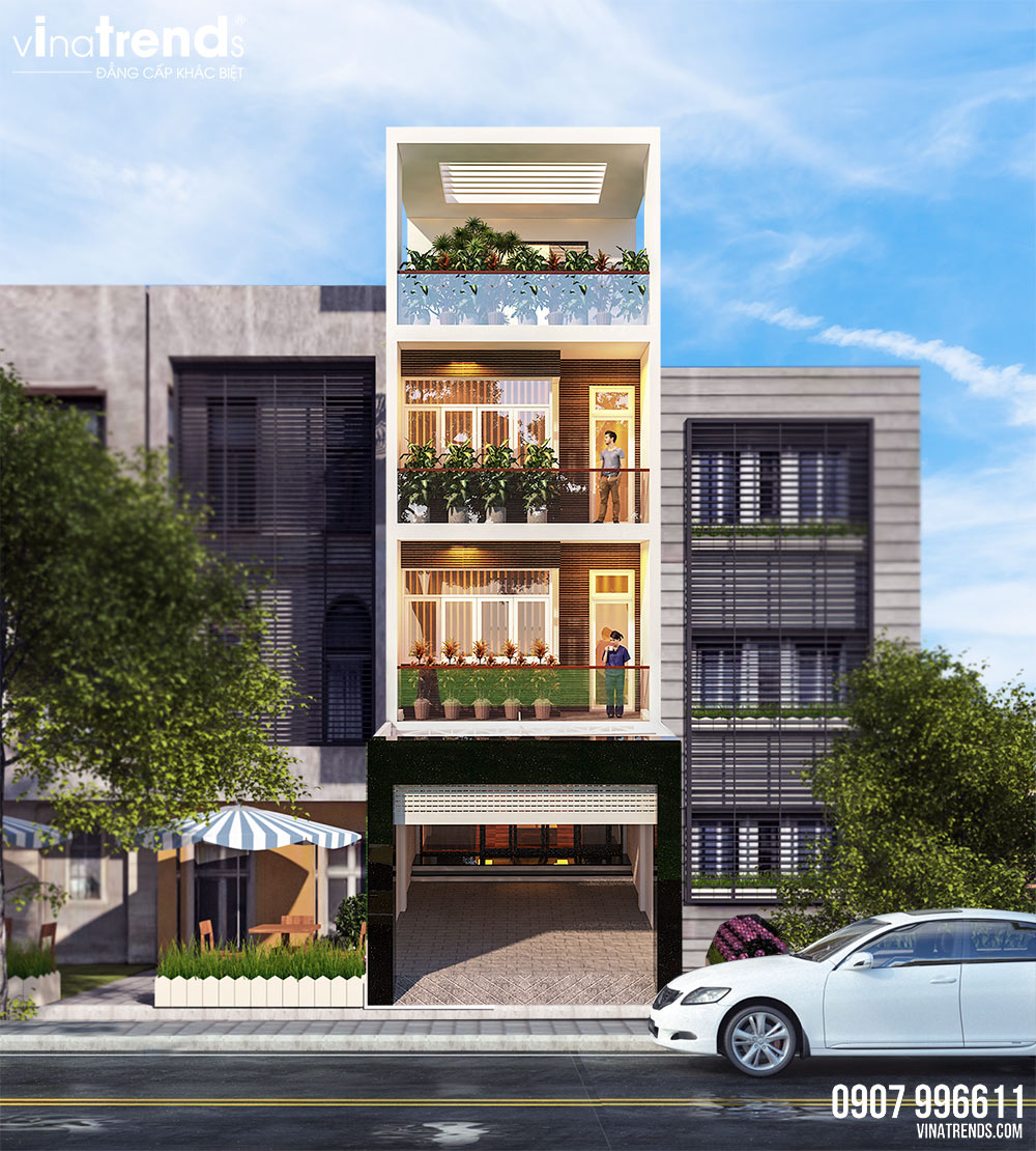 mau nha mat tien 5m 4 tang hien dai dep 1 Mẫu nhà 4 tầng hiện đại đẹp mặt tiền 4,5m có 3 phòng ngủ 2 giếng trời mát và tiết kiệm điện
