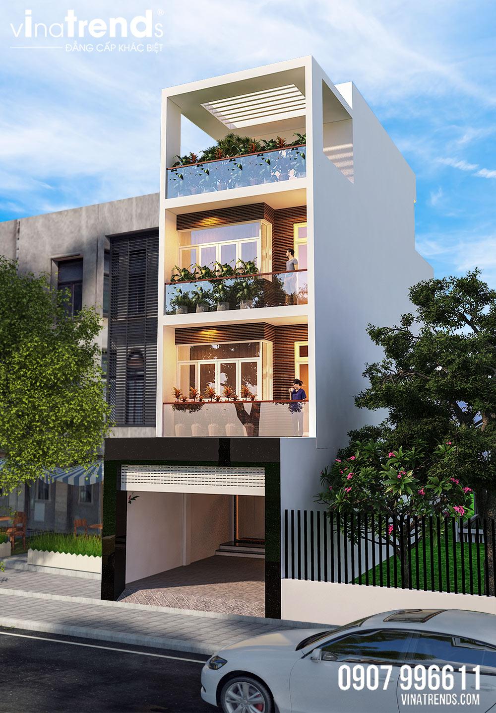mau nha mat tien 5m 4 tang hien dai dep 2 Nhà 4 tầng hiện đại 5x14,5m bố trí 2 lầu cho thuê ở trung tâm Biên Hòa