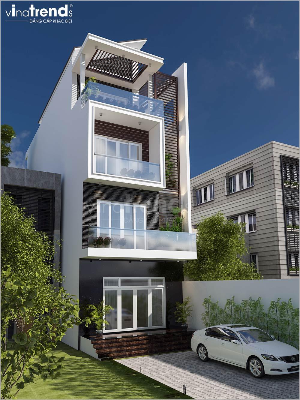 mau nha mat tien 5m 4 tang hien dai dep nhat 2 Mẫu nhà mặt tiền 5m 5 tầng dài 20m như khách sạn mini ở Hồ Chí Minh