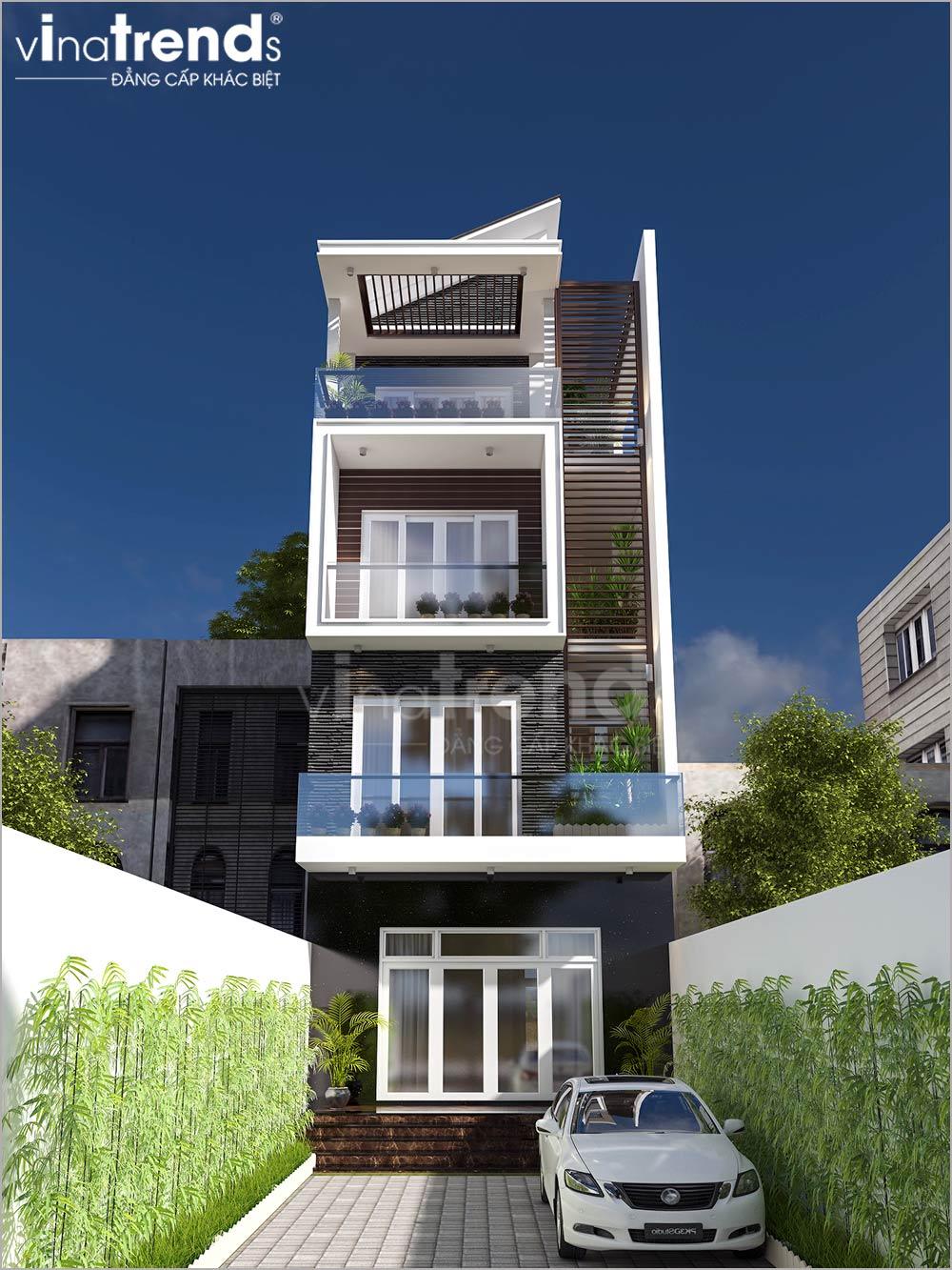 mau nha mat tien 5m 4 tang hien dai dep nhat 3 Mẫu nhà mặt tiền 5m 5 tầng dài 20m như khách sạn mini ở Hồ Chí Minh