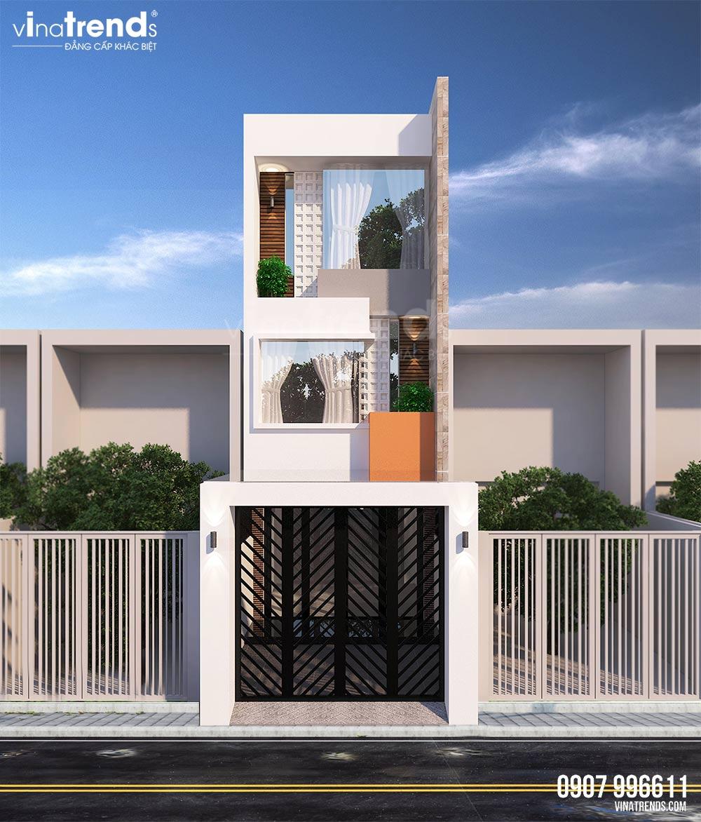mau nha ong mat tien 3 5m 3 tang hien dai dep nhat 2 Mẫu nhà 4 tầng hiện đại đẹp mặt tiền 4,5m có 3 phòng ngủ 2 giếng trời mát và tiết kiệm điện