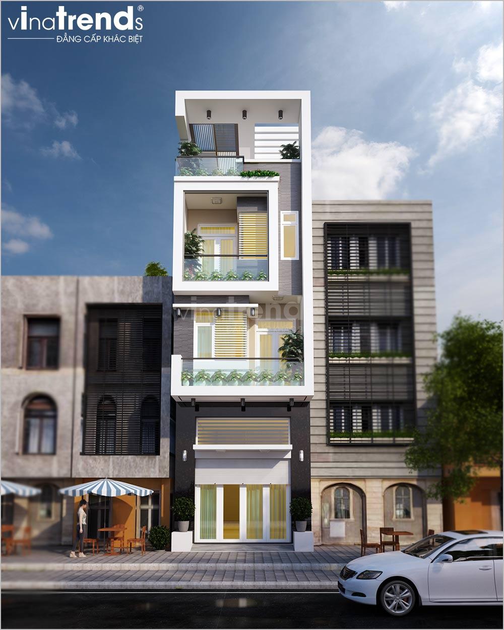mau nha ong mat tien 45m 4 tang hien dai dep 2 2 Mẫu nhà phố mặt tiền 4,5m 4 tầng  dài 18m hiện đại có giếng trời thoáng mát tiện nghi