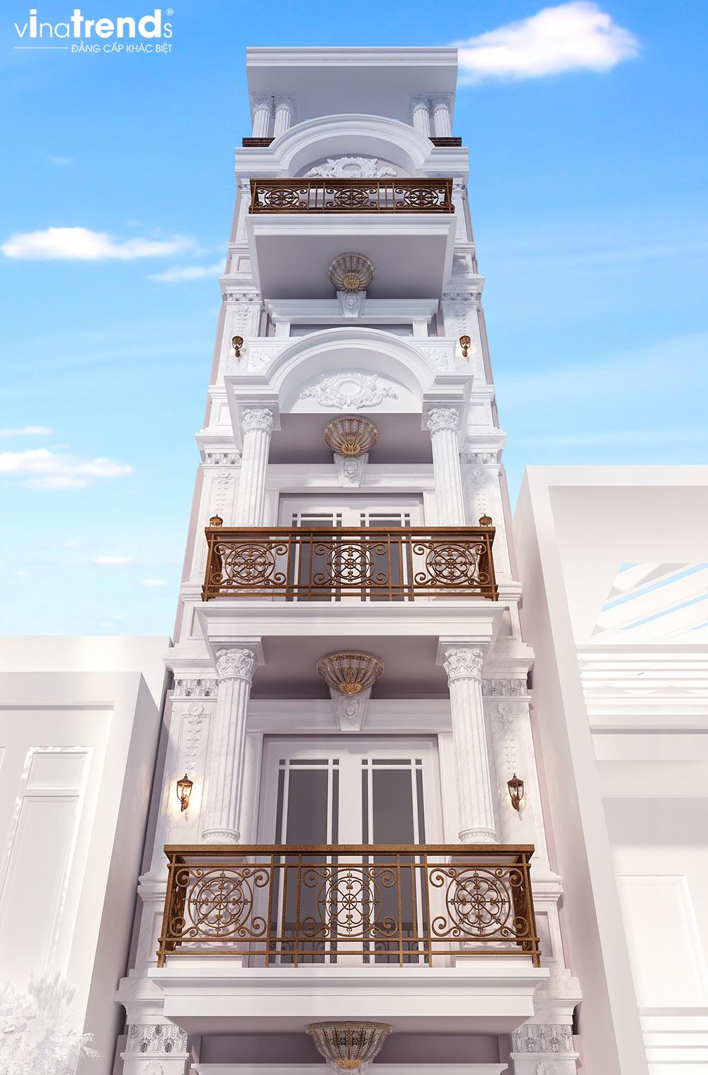 mau nha ong mat tien 4m dai 125m 5 tang kien truc nha pho co dien 3 Thiết kế nhà ống mặt tiền 4m dài 12,5m 5 tầng cổ điển làm văn phòng siêu đẳng cấp ở Hà Nội