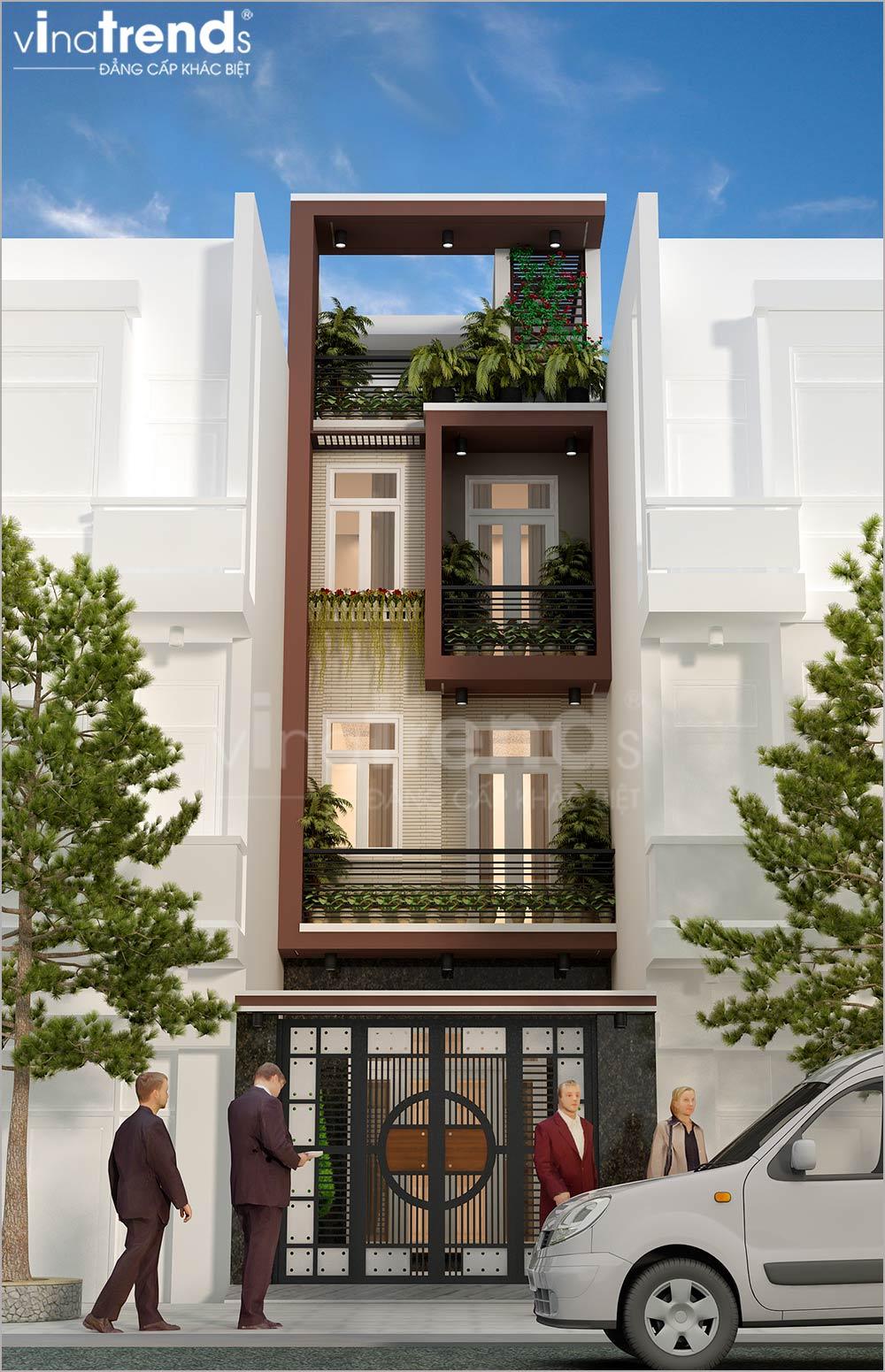 mau nha ong mat tien 5m 4 tang hien dai dep nhat hien nay 2 Mẫu nhà phố mặt tiền 4m 4 tầng dài 12m cả nội thất hiện đại ở Gò Vấp   Hồ Chí Minh