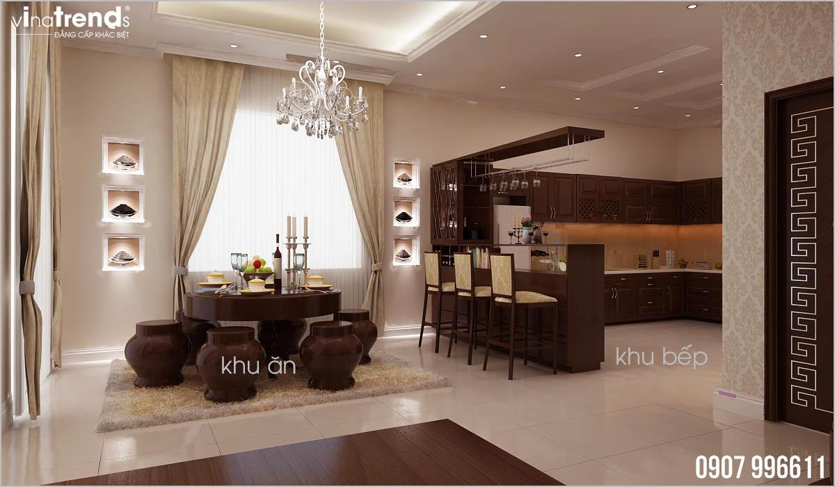 mau noi that go nha bep dep Nội thất phòng ăn đẹp với nội thất đèn chùm   NT011213A