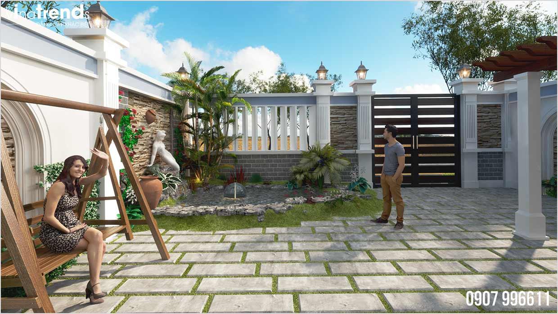 mau san vuon nha biet thu Mẫu nhà biệt thự 2 tầng mái thái 8x18m có sân vườn rộng 270m2 như cổ tích ở Bình Phước
