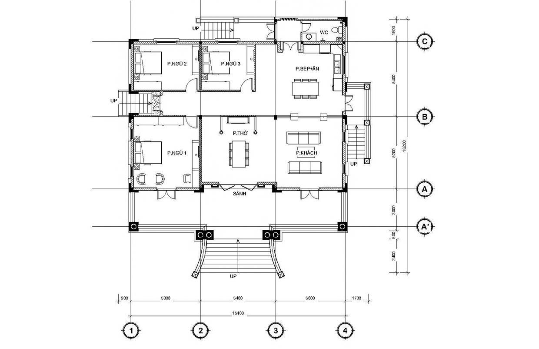 mb Đây là mẫu nhà biệt thự 1 tầng mái thái châu Âu 3 phòng ngủ 15,4x18,2m ở Quảng Nam có sân vườn rộng nhiều gia đình mơ ước