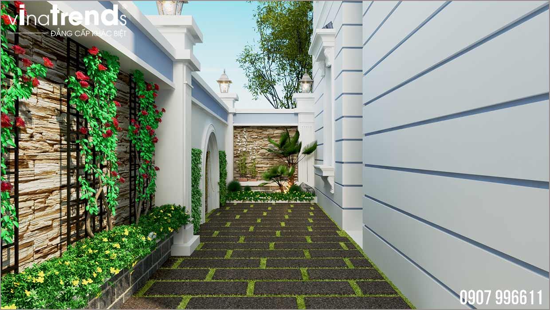 san vuon dep Mẫu nhà biệt thự 2 tầng mái thái 8x18m có sân vườn rộng 270m2 như cổ tích ở Bình Phước