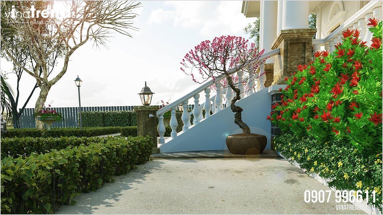 tieu canh san vuon dep Đây là mẫu nhà biệt thự 1 tầng mái thái châu Âu 3 phòng ngủ 15,4x18,2m ở Quảng Nam có sân vườn rộng nhiều gia đình mơ ước