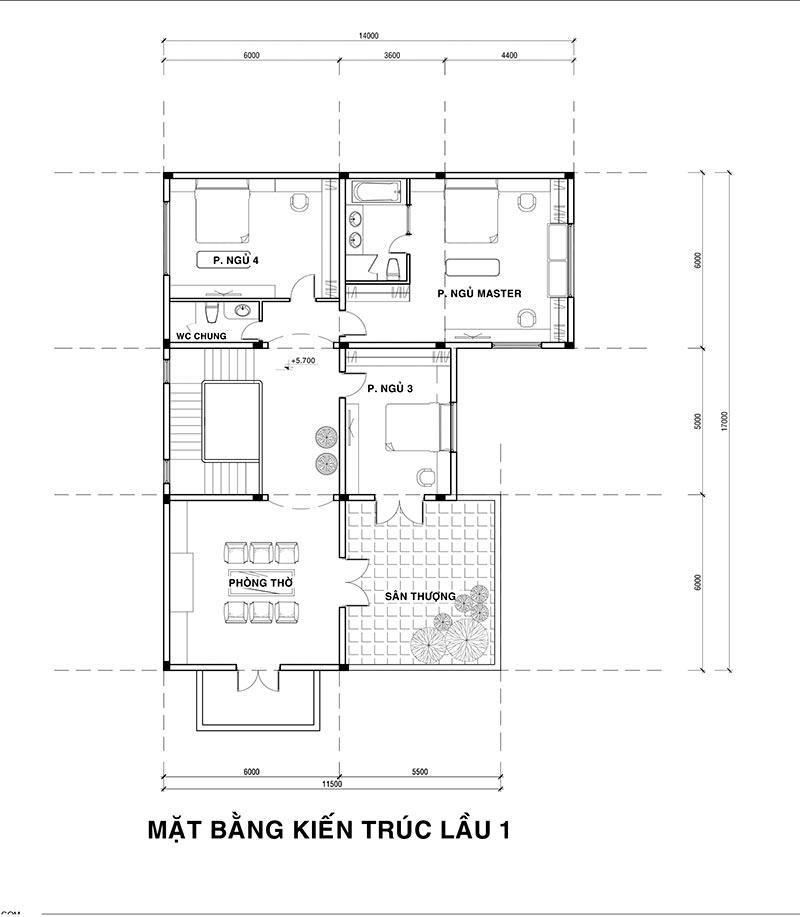 MB LAU 1 11 Mẫu nhà biệt thự 2 tầng cổ điển 14x17m có sân vườn lộng lẫy như cung điện của chú Y ở Củ Chi