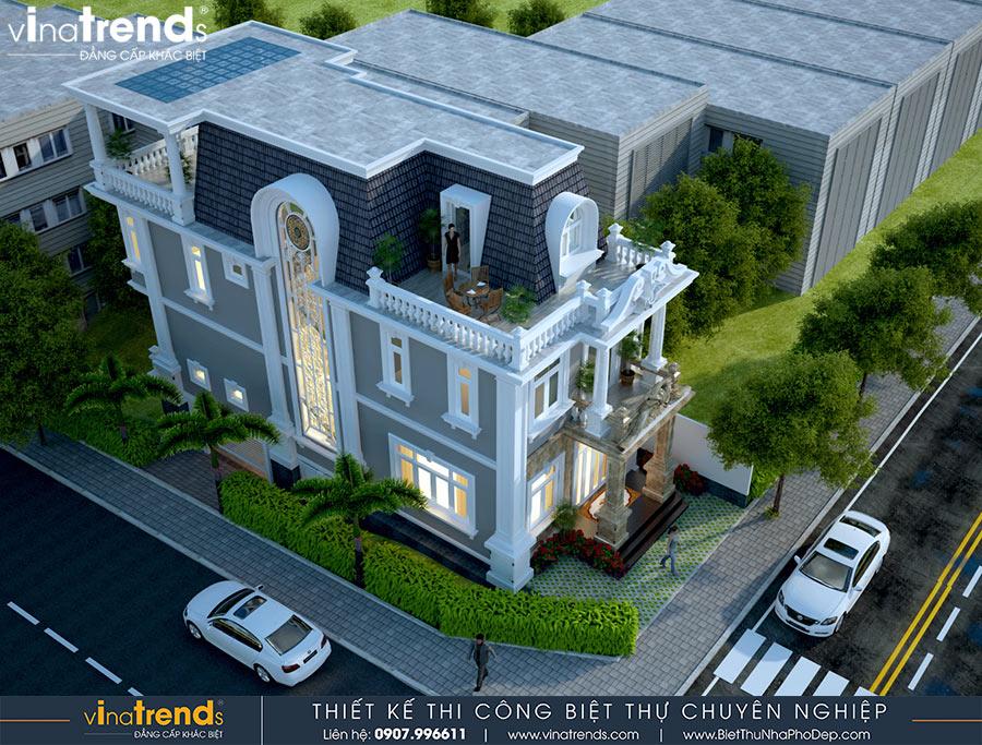 biet thu 2 tang co san thuong co dien mat tien 7m dai 15m dep nhu hoang cung Mẫu biệt thự 2 tầng cổ điển có sân thượng 7x15m hấp dẫn trực quan gia đình anh Nam ở Củ Chi