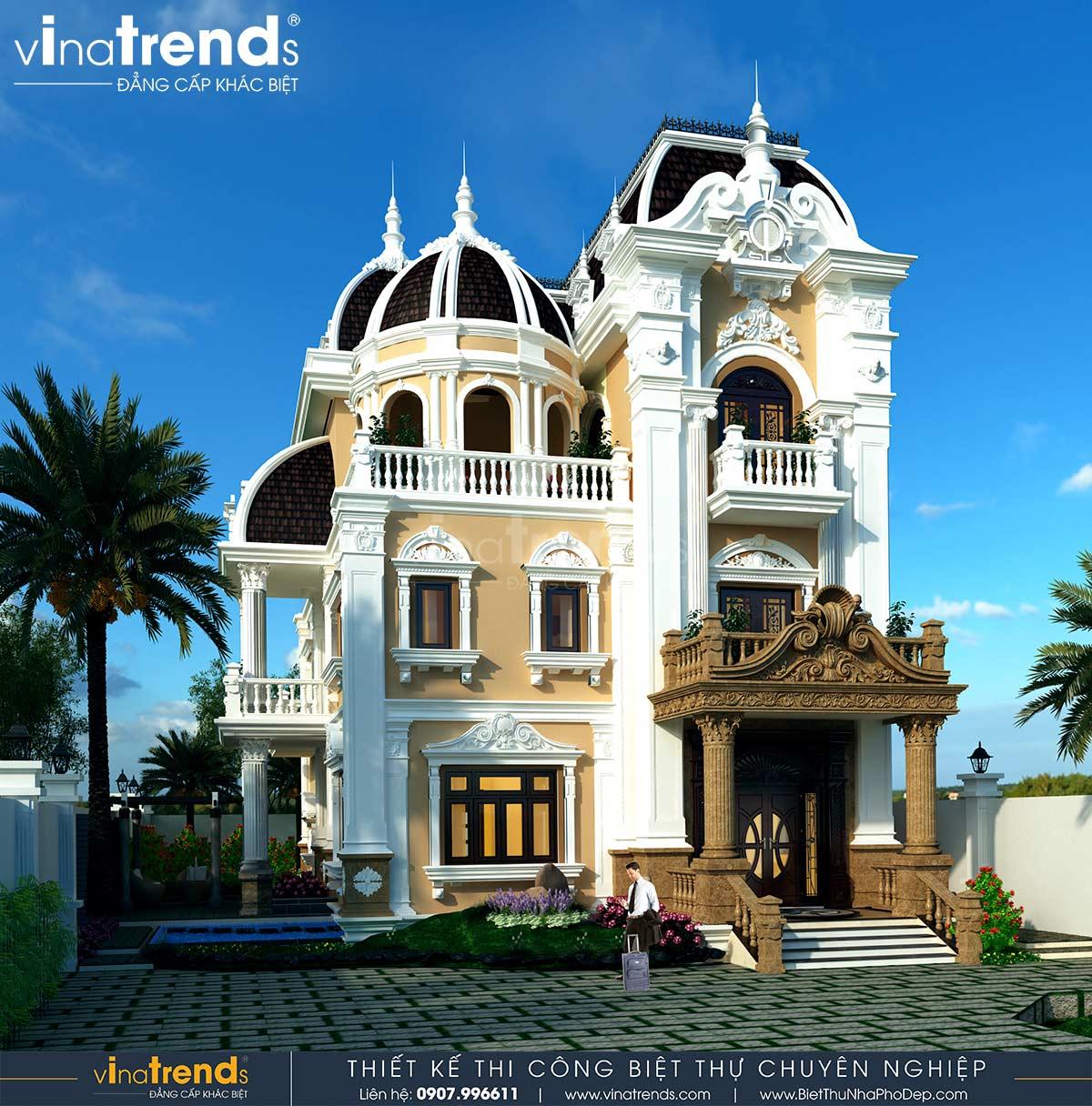 mau biet thu 3 tang chau au co dien dep Dự án thiết kế biệt thự cổ điển 3 tầng 17,5x34m đẹp đê mê anh Trụ ở Tây Ninh