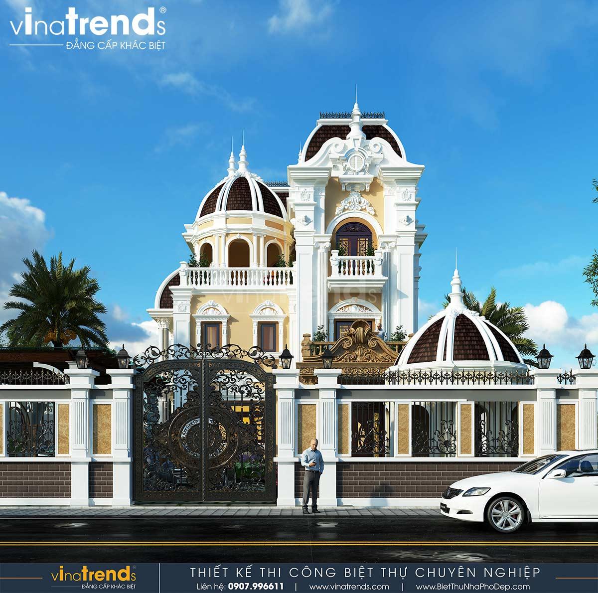 mau biet thu co dien 3 tang chau au dep Dự án thiết kế biệt thự cổ điển 3 tầng 17,5x34m đẹp đê mê anh Trụ ở Tây Ninh