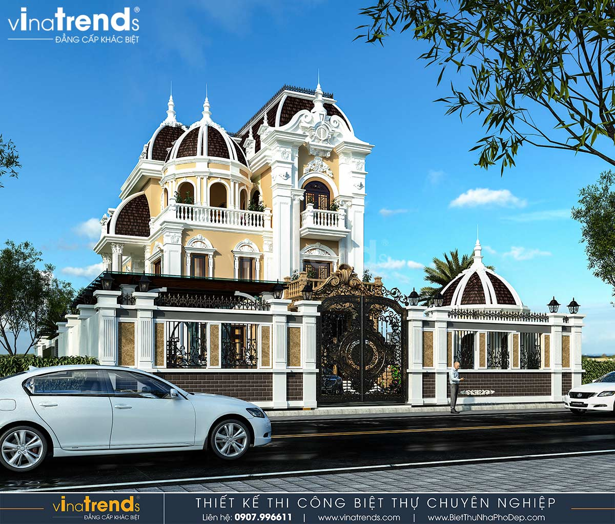 mau biet thu co dien chau au 3 tang dep nhat Dự án thiết kế biệt thự cổ điển 3 tầng 17,5x34m đẹp đê mê anh Trụ ở Tây Ninh