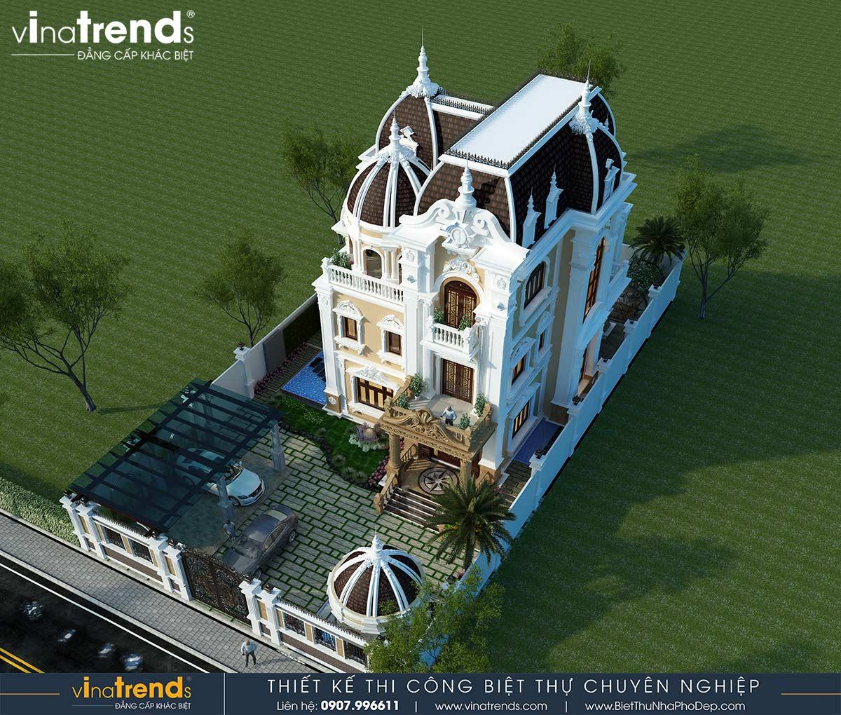 mau biet thu dep 3 tang kieu phap Dự án thiết kế biệt thự cổ điển 3 tầng 17,5x34m đẹp đê mê anh Trụ ở Tây Ninh