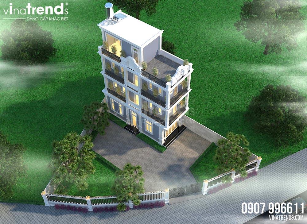 mau biet thu mini 60m2 4 tang tan co dien co san vuon rong 300m2 Bản vẽ mẫu nhà biệt thự mini 4 tầng 55m2 tân cổ điển trong mảnh vườn rộng 300m2 ở Biên Hòa