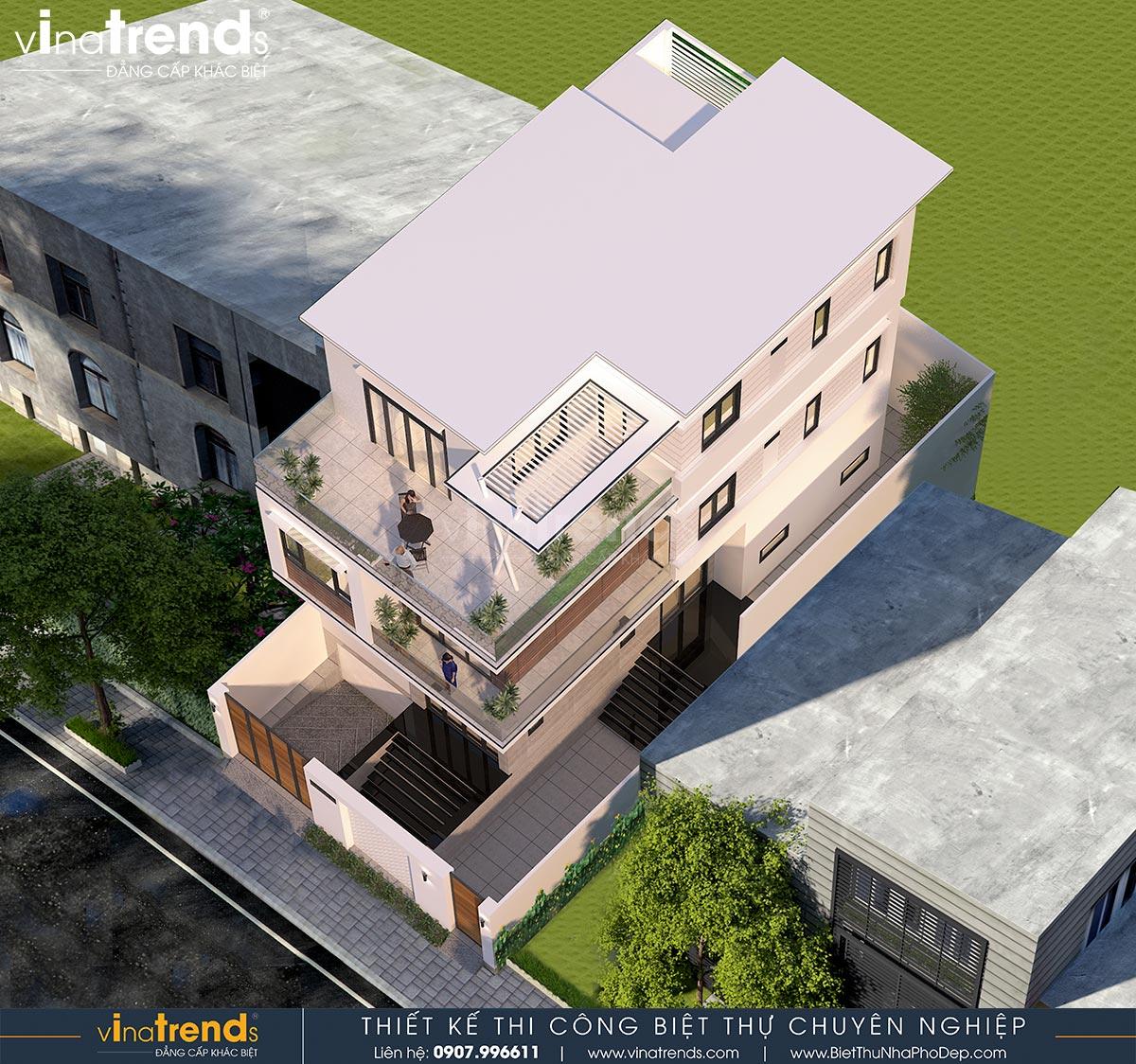 mau nha 3 tang hien dai co ham gara 8m dai 16m 1 Bản vẽ mẫu nhà biệt thự 3 tầng hiện đại 8x16m có hầm gara ô tô nhà anh Giang ở Hồ Chí Minh