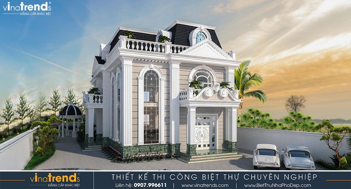 mau nha biet thu 2 tang kieu phap co dien 1 Mẫu biệt thự cổ điển 3 tầng 6x26m ở Biên Hòa nhà anh Tại mê ngay 3D phối cảnh kiến trúc