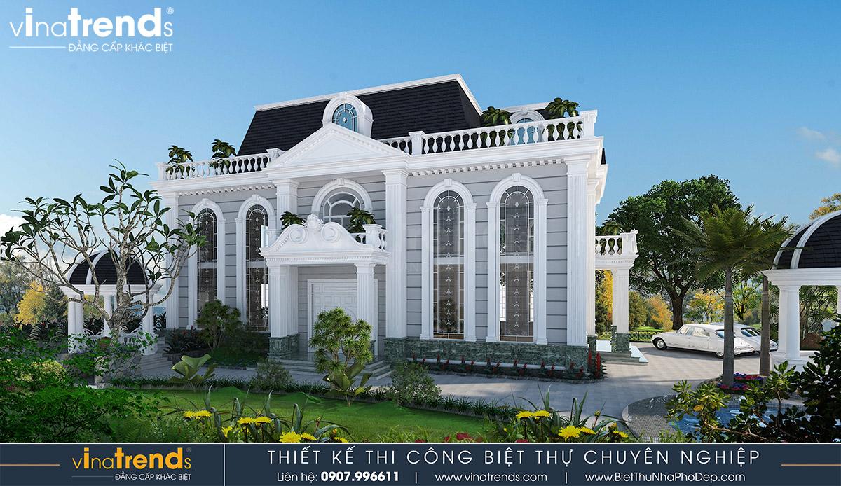 mau nha biet thu 2 tang kieu phap co dien 3 Mẫu nhà biệt thự 2 tầng kiểu Pháp 8x20m có sân vườn yên bình ở xứ sở công tử Bạc Liêu