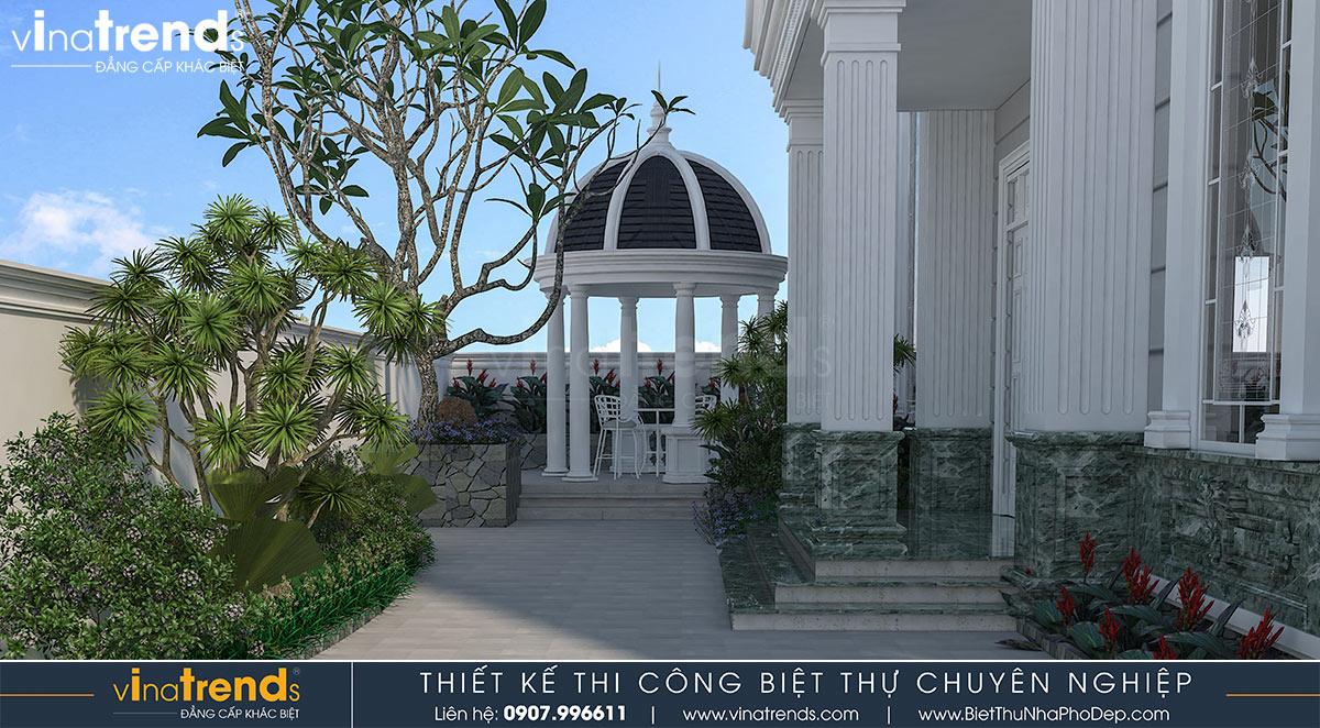 mau nha biet thu 2 tang kieu phap co dien 5 Mẫu nhà biệt thự 2 tầng kiểu Pháp 8x20m có sân vườn yên bình ở xứ sở công tử Bạc Liêu