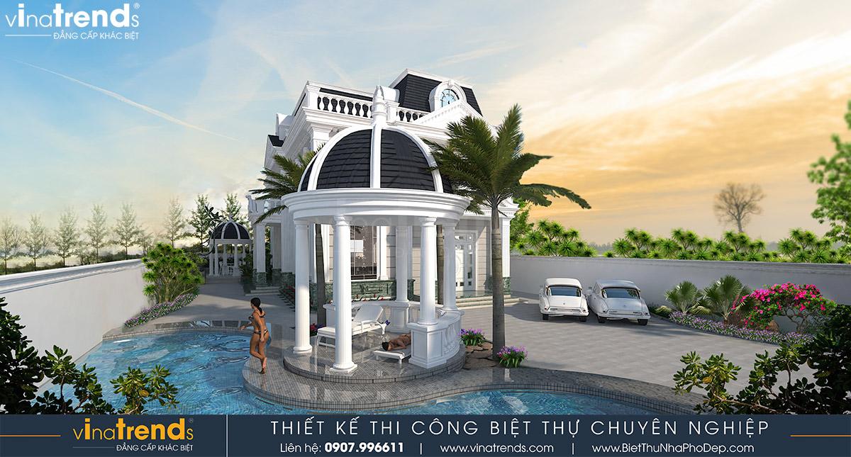 mau nha biet thu 2 tang kieu phap co dien Mẫu nhà biệt thự 2 tầng kiểu Pháp 8x20m có sân vườn yên bình ở xứ sở công tử Bạc Liêu