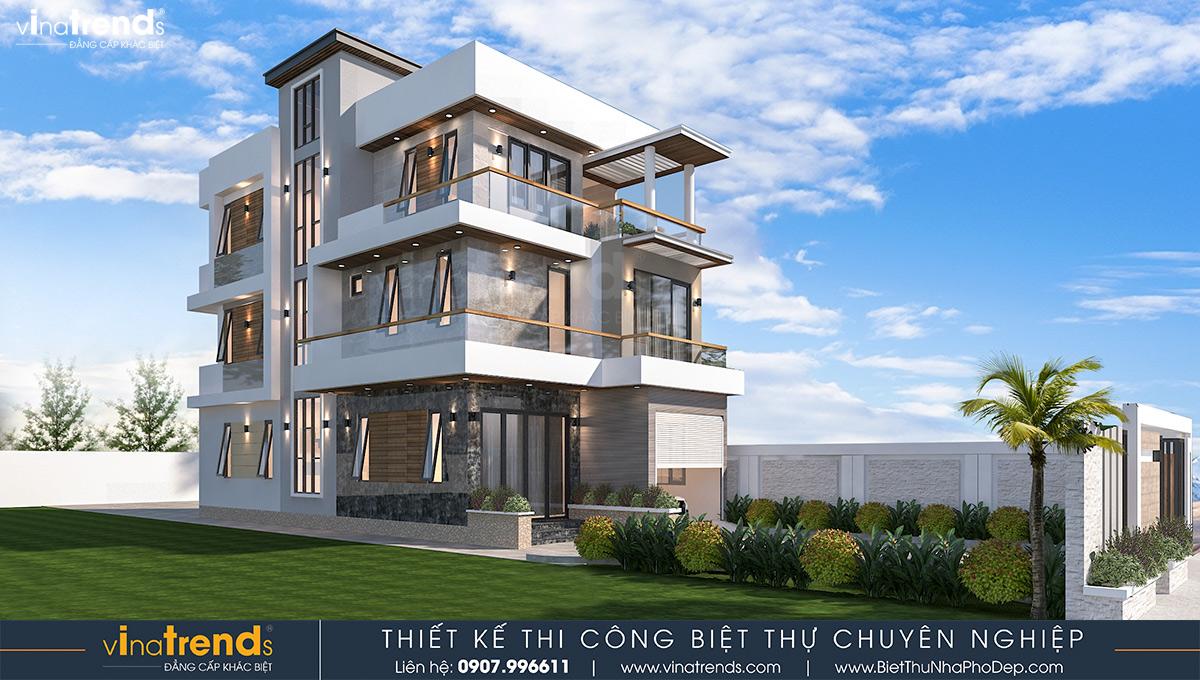 mau nha biet thu 3 tang hien dai co san vuon dep 6 Mẫu nhà biệt thự 3 tầng hiện đại 8,5m dài 16,5m có sân vườn rộng chứa bao ân tình dành cho gia đình ở Long Thành