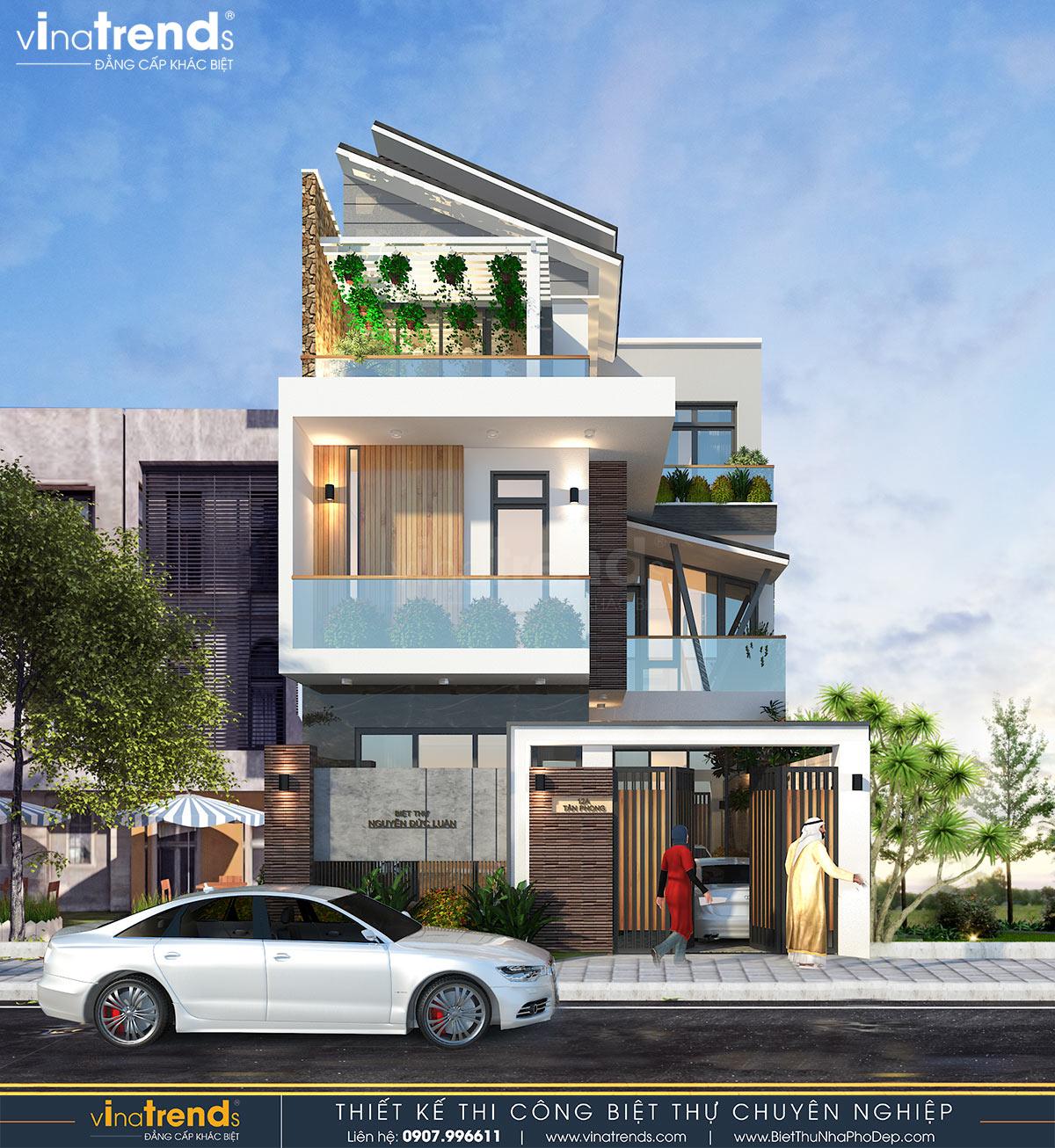 mau nha biet thu 3 tang hien dai dep nhat con doc 2 Mẫu nhà biệt thự 3 tầng hiện đại 10x20m 3 phía có ban công thoáng mát ở Thanh Hóa