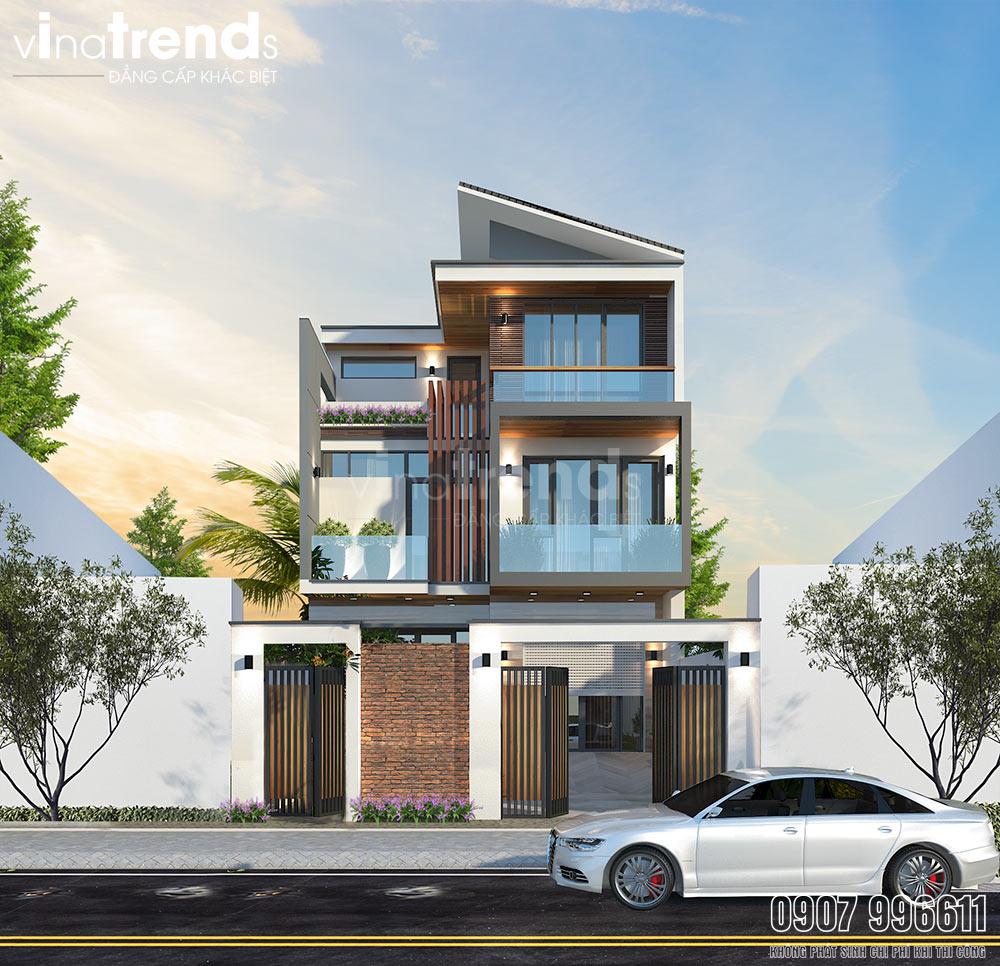 mau nha biet thu 3 tang hien dai dep nhat Mẫu biệt thự đẹp 3 tầng hiện đại 8,8x10m như resort của chủ nhà 9X dành tặng ba mẹ