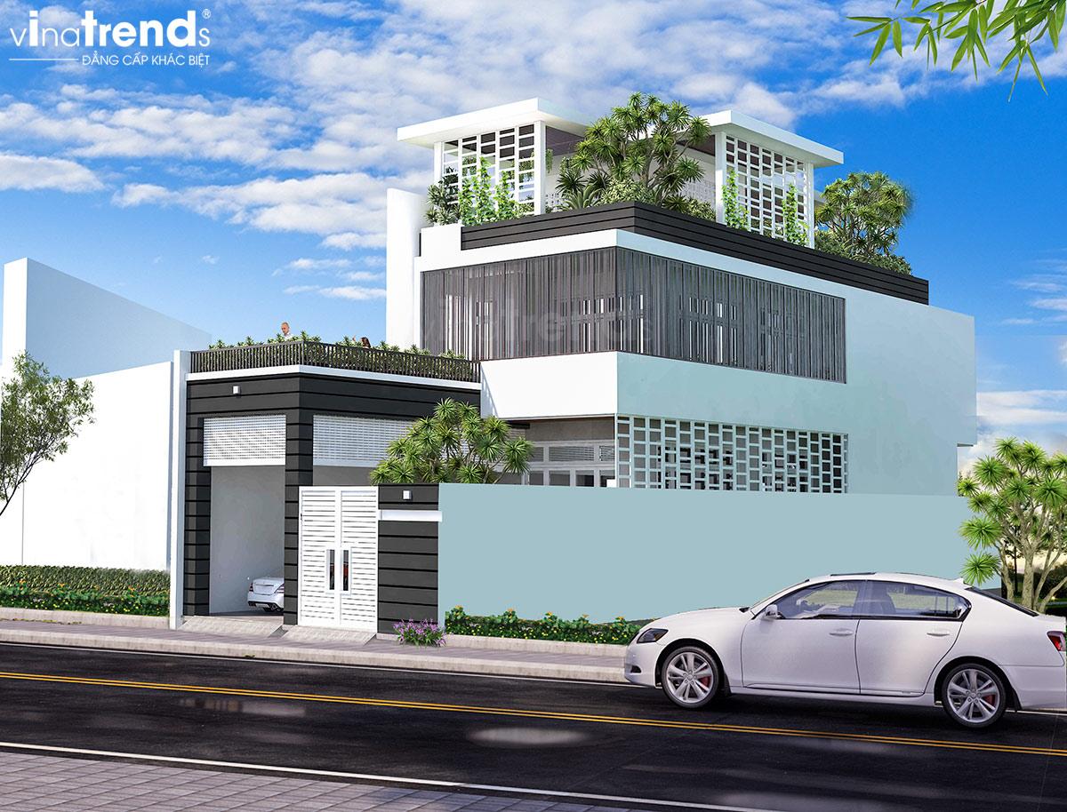 mau nha biet thu 3 tang hien dai toan cay xanh o sai gon Mẫu thiết kế biệt thự 3 tầng 8,5x18m đẹp đích thực là đây