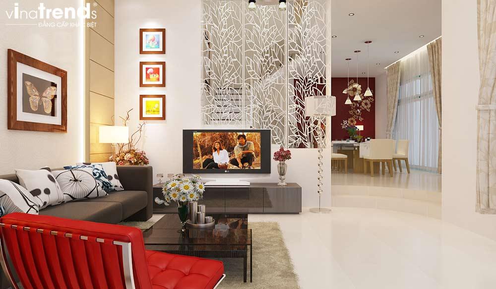 mau nha biet thu 3 tang tan co dien co san vuon truoc dep me ly 8 Bí quyết thiết kế nội thất phòng khách gọn gàng cho nhà đẹp   NTPK040814A