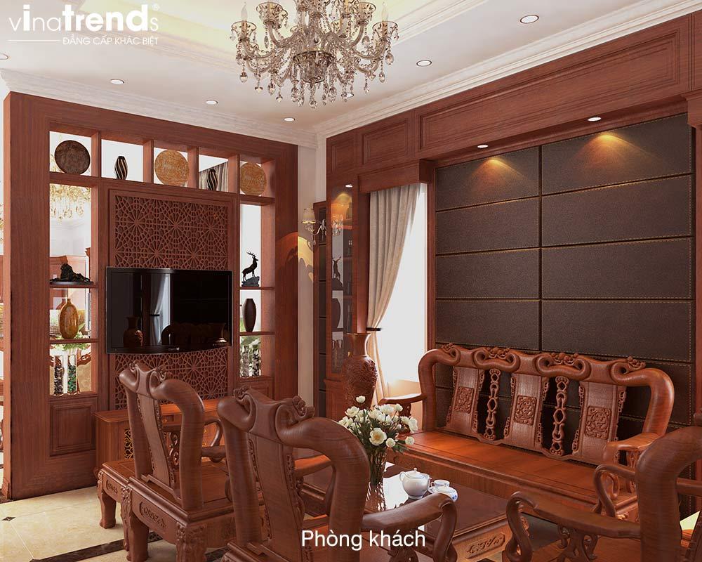 mau phong khach go dep Bản vẽ mẫu nhà biệt thự mini 4 tầng 55m2 tân cổ điển trong mảnh vườn rộng 300m2 ở Biên Hòa