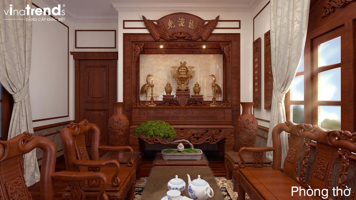 mau phong tho bang go dep Mẫu biệt thự 3 tầng kiểu Pháp 17,5x34m cả nội thất nói lên đẳng cấp là mãi mãi nhà anh Trụ ở Tây Ninh
