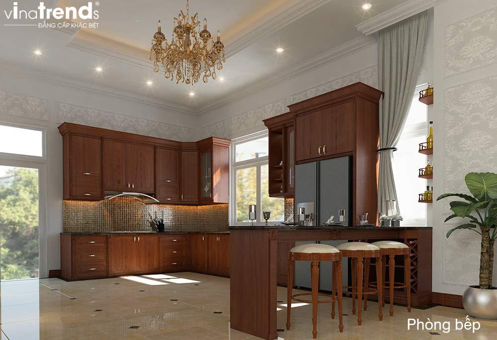 mau tu bep go dep 2 Bản vẽ mẫu nhà biệt thự mini 4 tầng 55m2 tân cổ điển trong mảnh vườn rộng 300m2 ở Biên Hòa