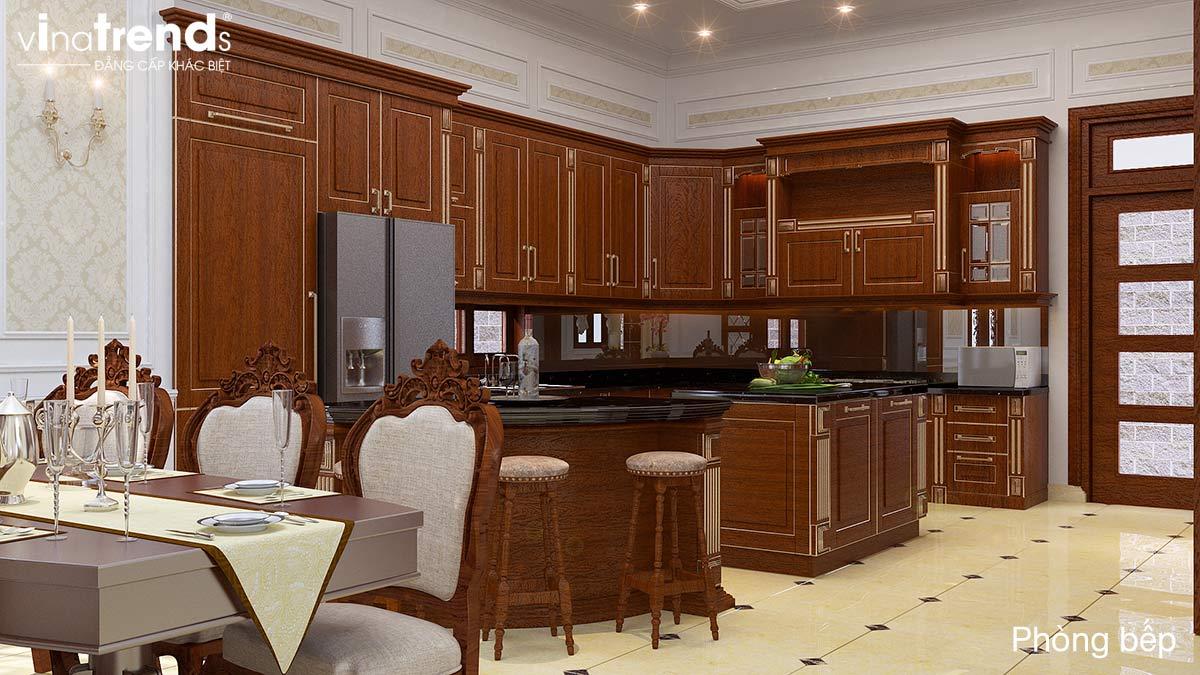 mau tu bep go dep Mẫu biệt thự 3 tầng kiểu Pháp 17,5x34m cả nội thất nói lên đẳng cấp là mãi mãi nhà anh Trụ ở Tây Ninh