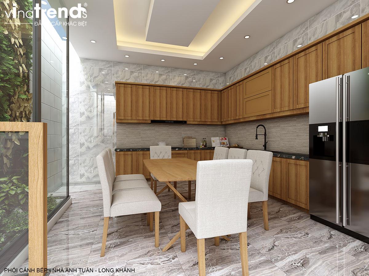noi that phong bep go nha 2 tang hien dai dep Thiết kế nội thất sang trọng bằng gỗ cho nhà 32m2   NT011213H