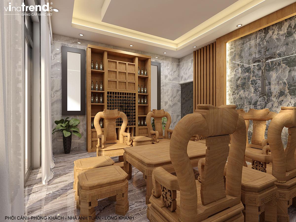 noi that phong khach go nha 2 tang hien dai dep Mẫu nhà 2 tầng đẹp 7,1x18m có 6 phòng ngủ công năng sử dụng THÔNG MINH nhà anh Tuấn ở Đồng Nai