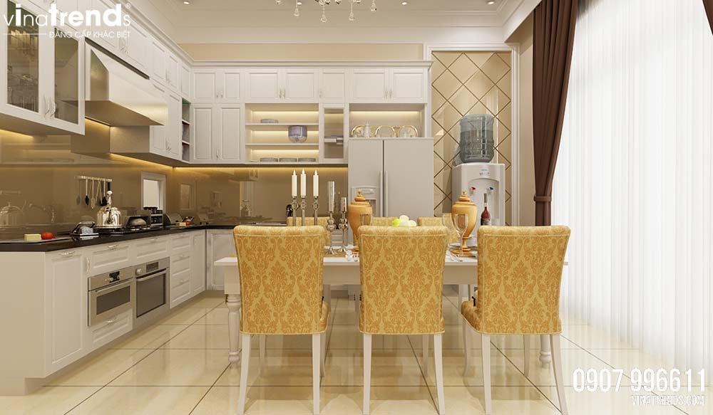 phong bep nha pho dep Mẫu nhà 3 tầng dành tầng trệt kinh doanh mặt tiền 5,3x27m nhà chị Nga ở Hưng Yên