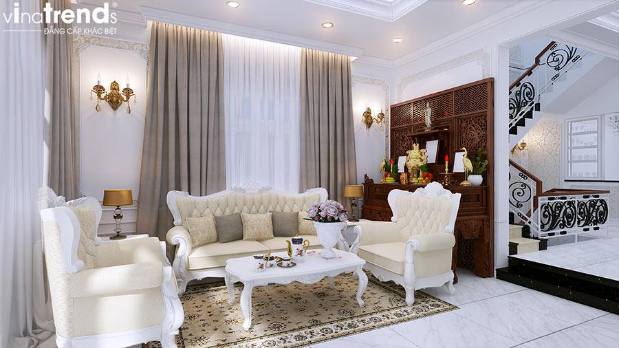 phong khach biet thu 2 tang co san thuong co dien mat tien 7m dai 15m dep nhu hoang cung Mẫu thiết kế phòng khách nhỏ hẹp nhà ống xinh xắn