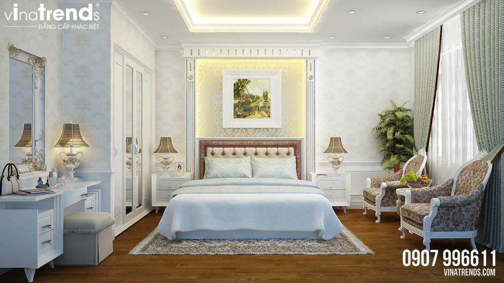 phong ngu master 1 Mẫu nhà 3 tầng dành tầng trệt kinh doanh mặt tiền 5,3x27m nhà chị Nga ở Hưng Yên