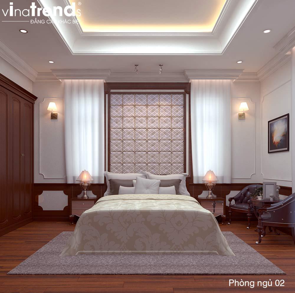 phong ngu master tan co dien dep Bản vẽ mẫu nhà biệt thự mini 4 tầng 55m2 tân cổ điển trong mảnh vườn rộng 300m2 ở Biên Hòa