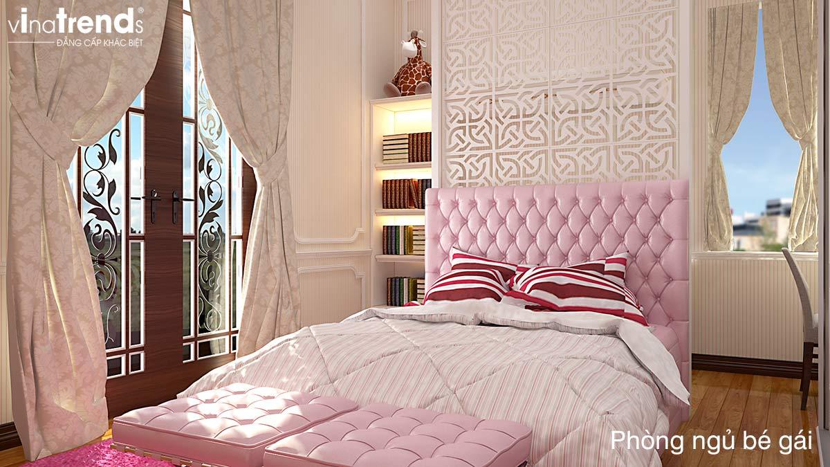 phong ngu mau hong be gai Mẫu biệt thự 3 tầng kiểu Pháp 17,5x34m cả nội thất nói lên đẳng cấp là mãi mãi nhà anh Trụ ở Tây Ninh