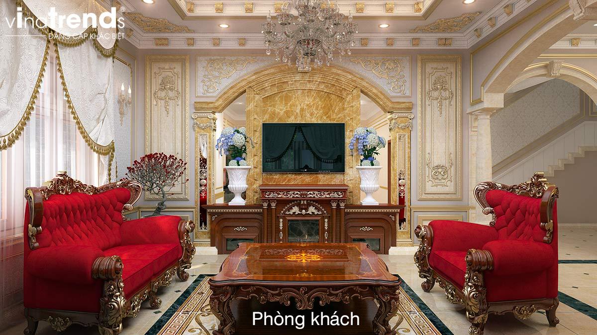 thiet ke mau phong khach co dien dep Mẫu biệt thự 3 tầng kiểu Pháp 17,5x34m cả nội thất nói lên đẳng cấp là mãi mãi nhà anh Trụ ở Tây Ninh